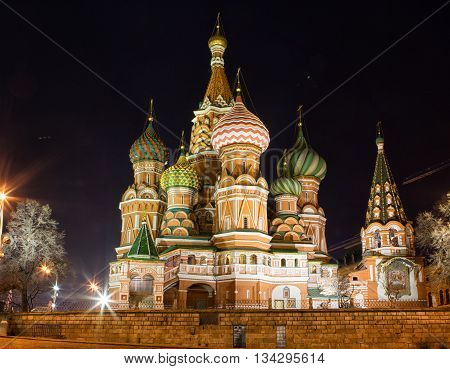 Saint Basil's Cathedral at night Red Square Moscow Russia