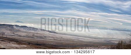 Panorama of winter mountains in Caucasus regionElbrus mountain Russia
