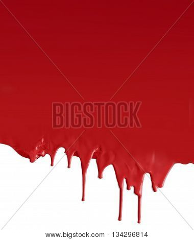 Dripping dark red paint on white background