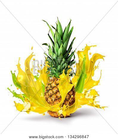 Fresh tropical pineapple bursting sweet juice isolated on white background