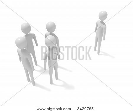 Meeting: four white 3d men and one outsider 3d illustration