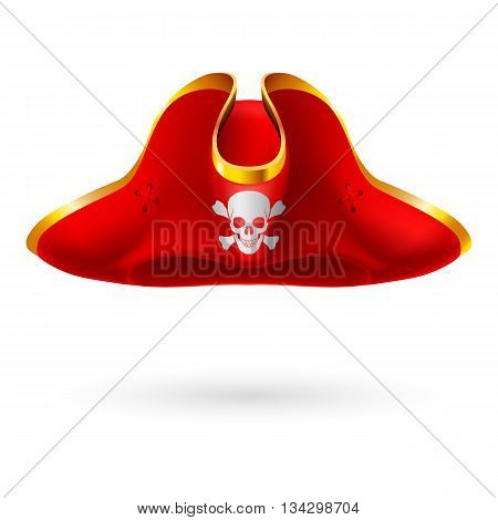 Red cocked hat with pirate symbol of skull and crossed bones