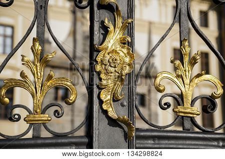 Old metal gate, visible decorative gold ornaments, finesse blacksmith work.