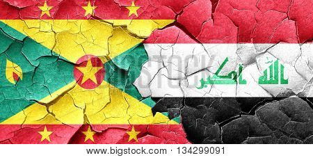 Grenada flag with Iraq flag on a grunge cracked wall
