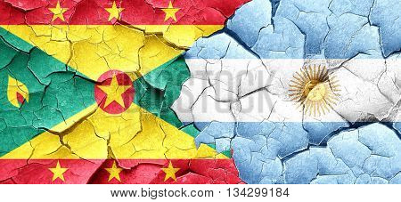 Grenada flag with Argentine flag on a grunge cracked wall