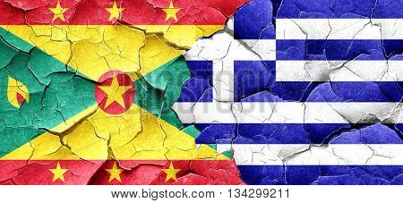 Grenada flag with Greece flag on a grunge cracked wall