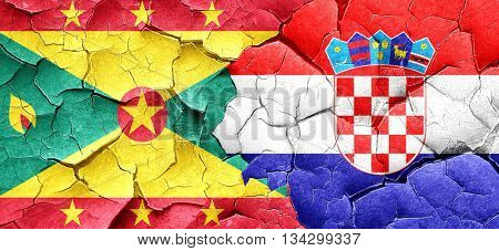 Grenada flag with Croatia flag on a grunge cracked wall