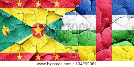 Grenada flag with Central African Republic flag on a grunge crac