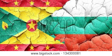 Grenada flag with Bulgaria flag on a grunge cracked wall