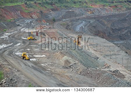 General view to the iron ore opencast. Open pit mining