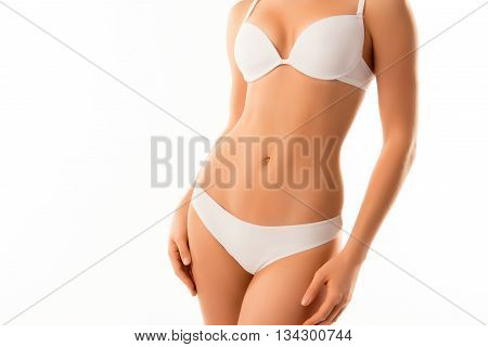 Close Up Photo Of Perfect Female Body Isolated On White Backgrou