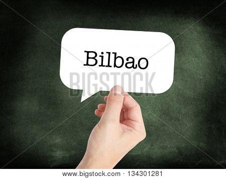 Bilbao  written in a speech bubble