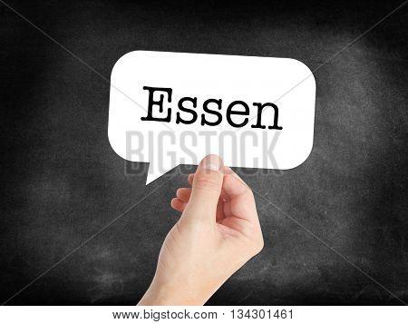 Essen written on a speechbubble