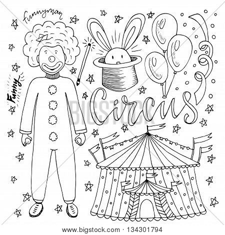 Hand drawn Circus collection with clown balloon circus tent and magic rabbit. Coloring book page for kids