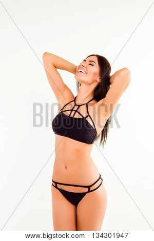 Cheerful Happy Young Woman Posing In Black Underwear