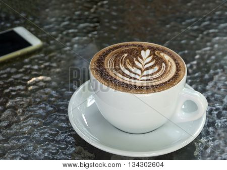 Cup Of Mocha Coffee On Table - Top View