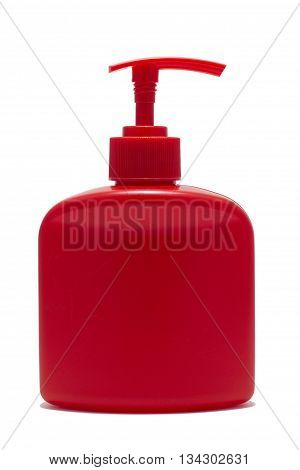 red bottle with dispenser on white background