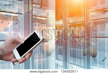 Man's Hand Shows White Smartphone In Vertical Position