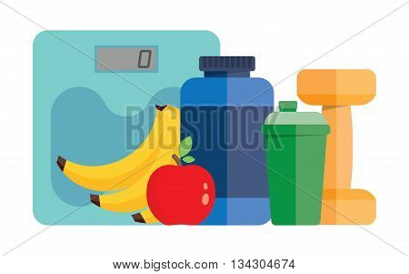 dumbbell, sports nutrition, scales and fruit, Vector flat illustration
