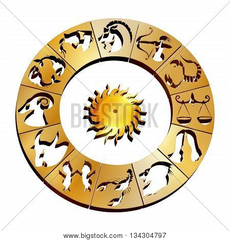 Vector illustration of zodiac signs on a gold disk in the center of the star the sun isolated object