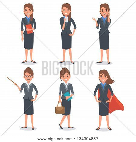 Businesswoman in different poses. Vector people illustration.