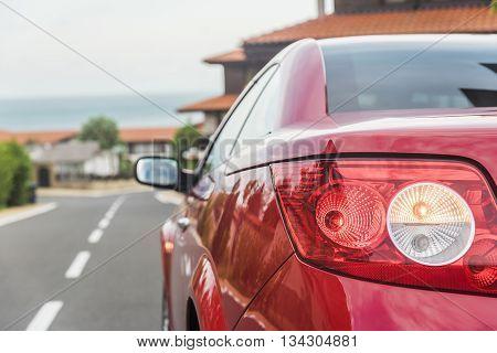 SVETI VLAS BULGARIA - MAY 2: Red car Renault Megane Cabriolet on city streets on May 2 2016 in Sveti Vlas Bulgaria.