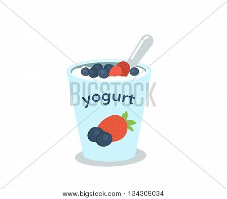 Yogurt cup with berries. Food vector illustration.
