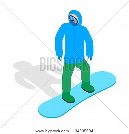 Snowboarder with snowboard deck icon in isometric 3d style on a white background