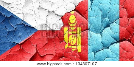 czechoslovakia flag with Mongolia flag on a grunge cracked wall