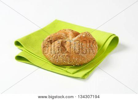 fresh bun on green place mat