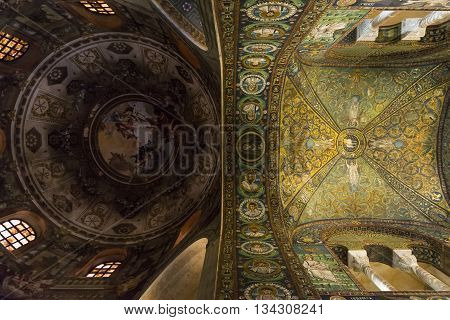 RAVENNA,ITALY-AUGUST 21,2015:view of the interior of San Vitale basilica in Ravenna-Italy.