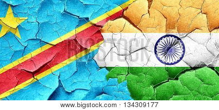 Democratic republic of the congo flag with India flag on a grung
