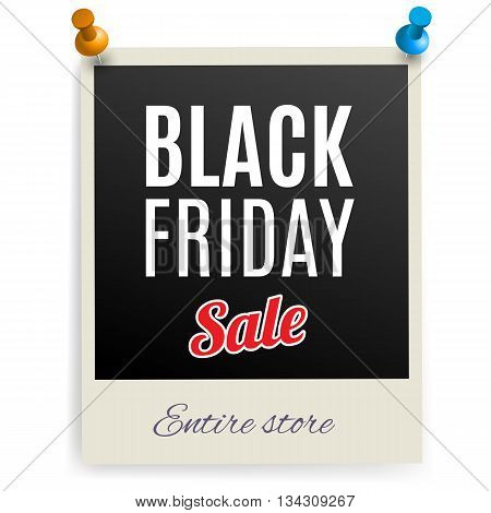Black Friday discounts on the photo frame pinned on the wall.