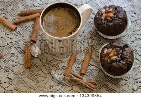Black Coffee And Two Chocolate Home-made Muffins