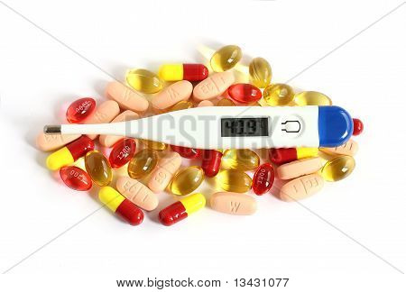 Digital Thermometer On Pills And Tablets