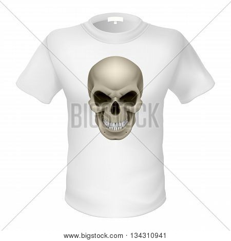 White T-shirt with a skull isolated on white