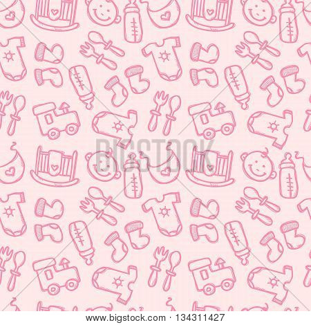 Vector seamless pattern with baby objects. Newborn clothes and accessories seamless background in trendy doodle style