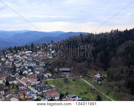 View Of The Town Ebersteinburg, Baden-wurttemberg, Germany, Seen From The Castle Ruin Above