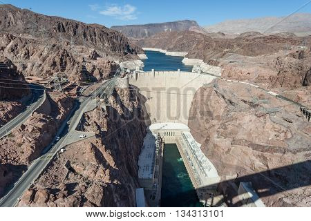 View Of Hoover Dam Also Known As Boulder Dam From Mike O'callaghan-pat Tillman Memorial Bridge Betwe