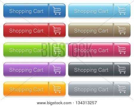 Set of Shopping cart glossy color captioned menu buttons with embossed icons
