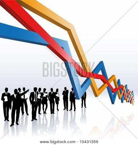 Pessoas de negócios e um gráfico de vendas