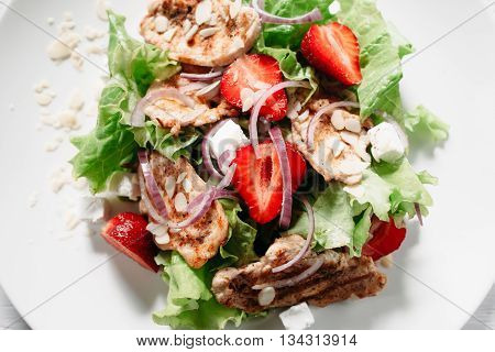 Food Salad Dining Meat Strawberry Mozzarella Cuisine Original Recipe Healty Eating Concept