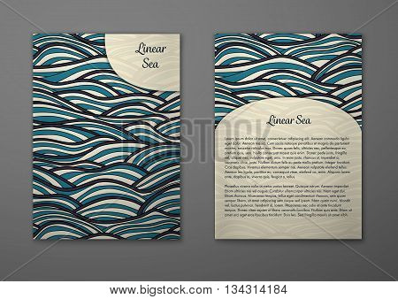 Vector cards with pattern abstract waves texture. Colorful sea background. Layout template front page and back page.