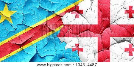 Democratic republic of the congo flag with Georgia flag on a gru