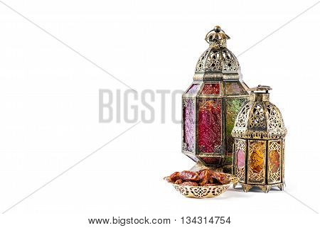 Oriental holidays decoration light lantern on white background. Ramadan kareem. Eid mubarak