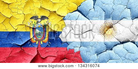 Ecuador flag with Argentine flag on a grunge cracked wall