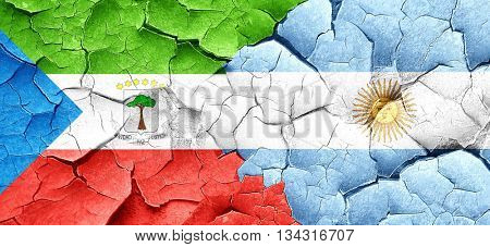 Equatorial guinea flag with Argentine flag on a grunge cracked w