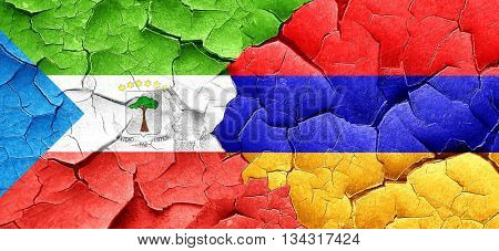 Equatorial guinea flag with Armenia flag on a grunge cracked wal