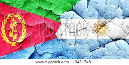Eritrea flag with Argentine flag on a grunge cracked wall