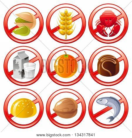 Allergen food icon set shows allergy to products with prohibition sings.